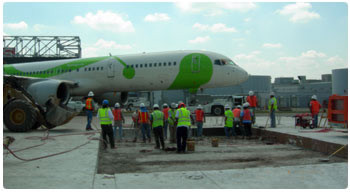Atlanta International Airport concrete runway panel replacement by George Throop Company with Mobile Batch Plants