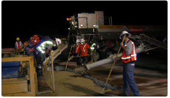 Producing concrete for replacing airport concrete runway panels at Atlanta Airport by George Throop Company