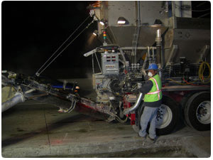 George Throop uses mobile batch plants to pour new freeway concrete panels for Caltrans freeway concrete panel replacement projects