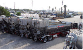 George Throop company uses mobile batch plants to work on concrete construction jobs.