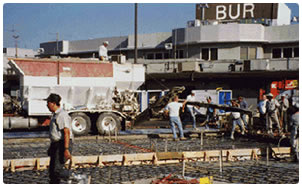 Photo of concrete production work with Rapid Set cement concrete at Burbank Airport by George Throop Company in California