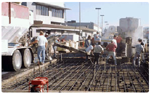 Photo of Burbank Airport, California, having concrete hardstand rapid set cement replaced by Throop Company