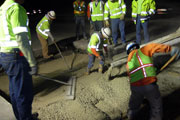 Throop Company placing rapid set concrete for Caltrans