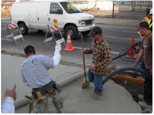 George Throop company produces Rapid Set concrete to repair city and county streets with concrete quickly.