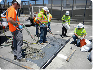 Throop Company sells FastPatch concrete repair product that fills spall patches in concrete on city streets
