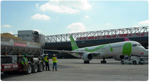 George Throop Company does airport runway and taxiway concrete repairs using Rapid set fast setting concrete so that runways can be used within two hours of replacing the concrete