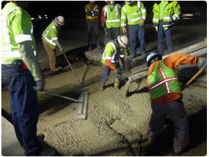 George Throop Company produces concrete for Caltrans doing highway, street, freeway and road repair primarily replacing concrete freeway panels