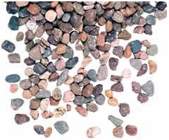 Decorative rocks, sand and gravel water filtration, gravel rock, construction aggregates and filter media rocks from George Throop Company in Pasadena, CA