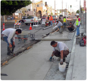 Concrete street repair by George Throop Company in Pasadena, CA