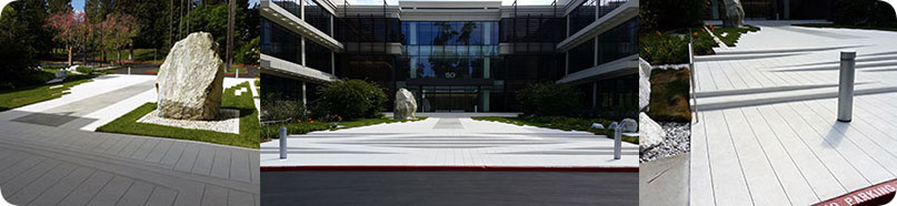 White concrete produced by George Throop Pasadena for industrial commercial building creating beautiful wheel chair access