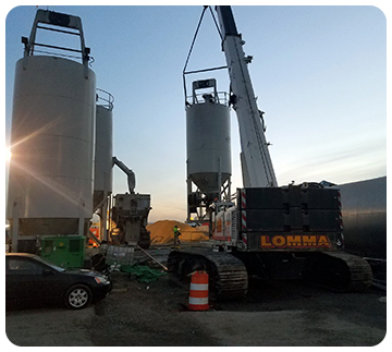 Concrete silo tilted at LaGuardia Airport NY starting concrete construction project by Throop Company